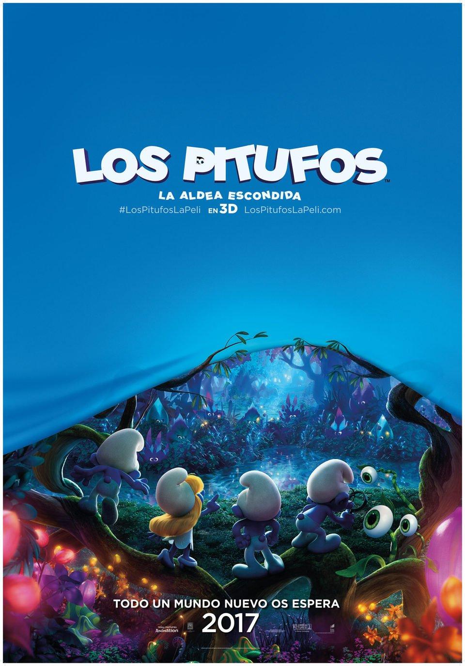 Cartel Teaser España de 'Los Pitufos: La aldea escondida'