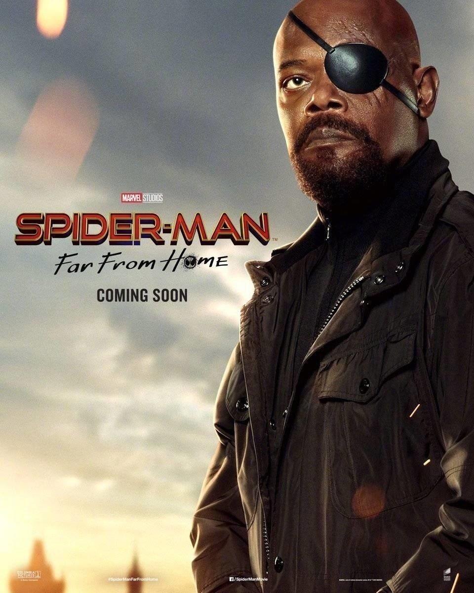 Cartel Samuel L. Jackson de 'Spider-Man: Lejos de casa'