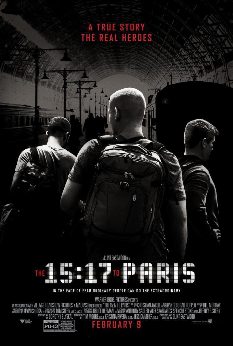 Cartel Póster inglés de '15:17 Tren a Paris'