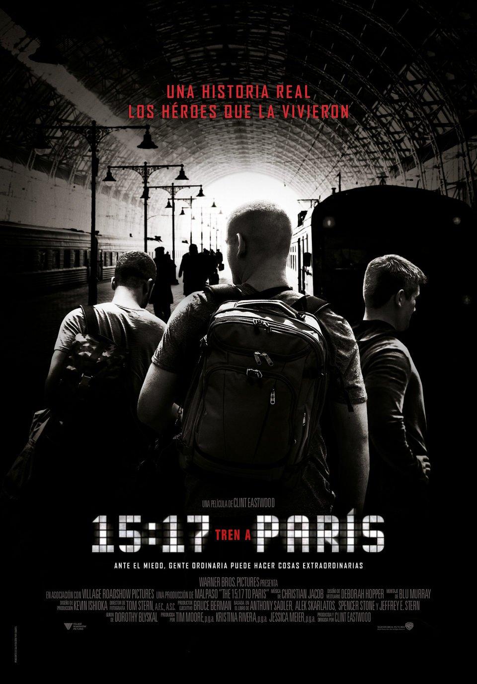 Cartel Póster español de '15:17 Tren a Paris'