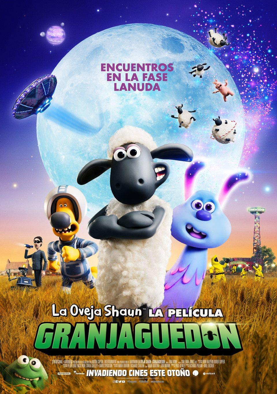 Cartel Poster español de 'La oveja Shaun. La película: Granjaguedon'