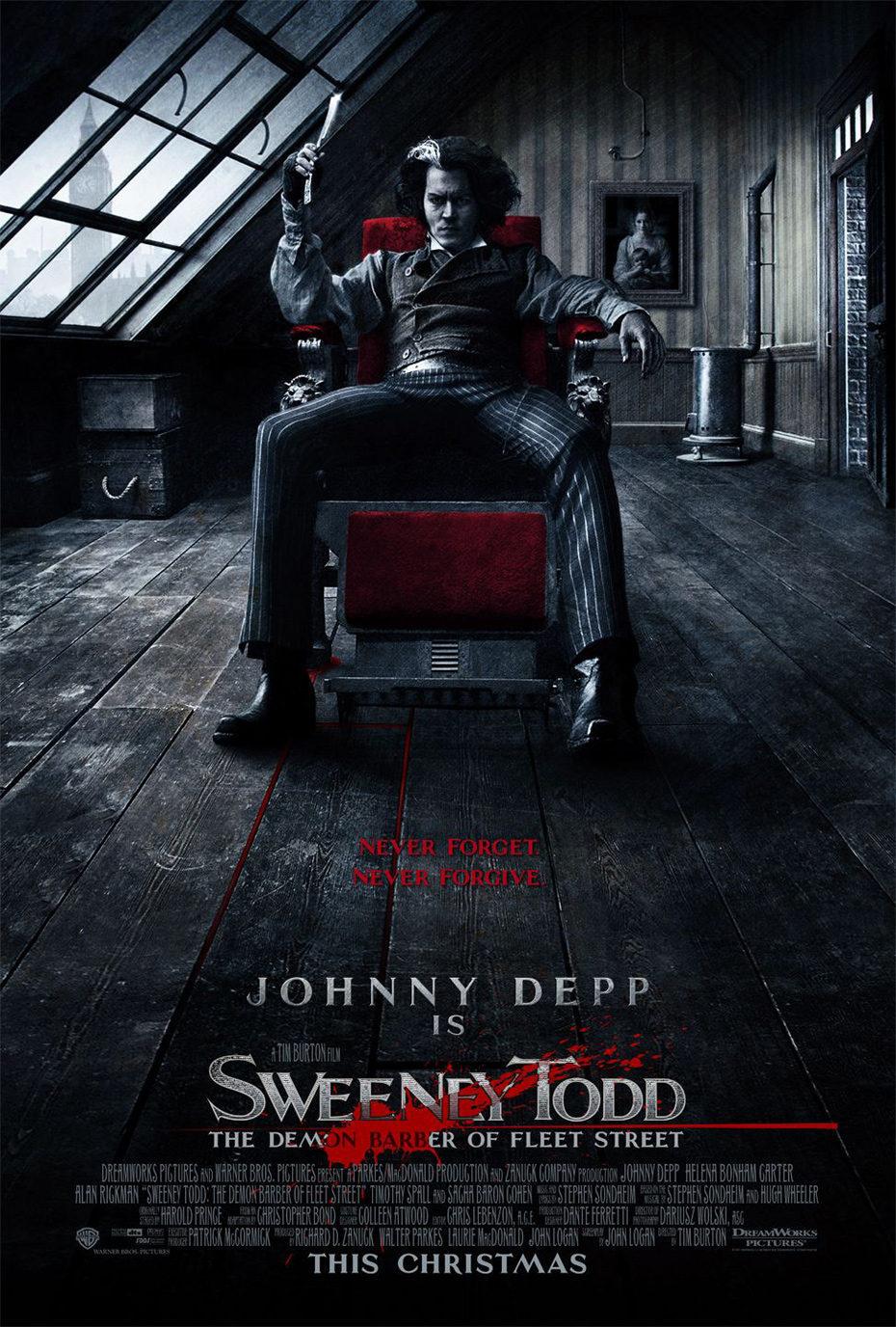 Cartel Estados Unidos de 'Sweeney Todd, el barbero diabólico de la calle Fleet'