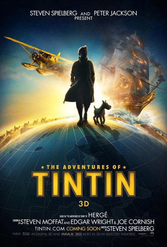 Cartel EEUU de 'Las Aventuras de Tintín: El secreto del Unicornio'