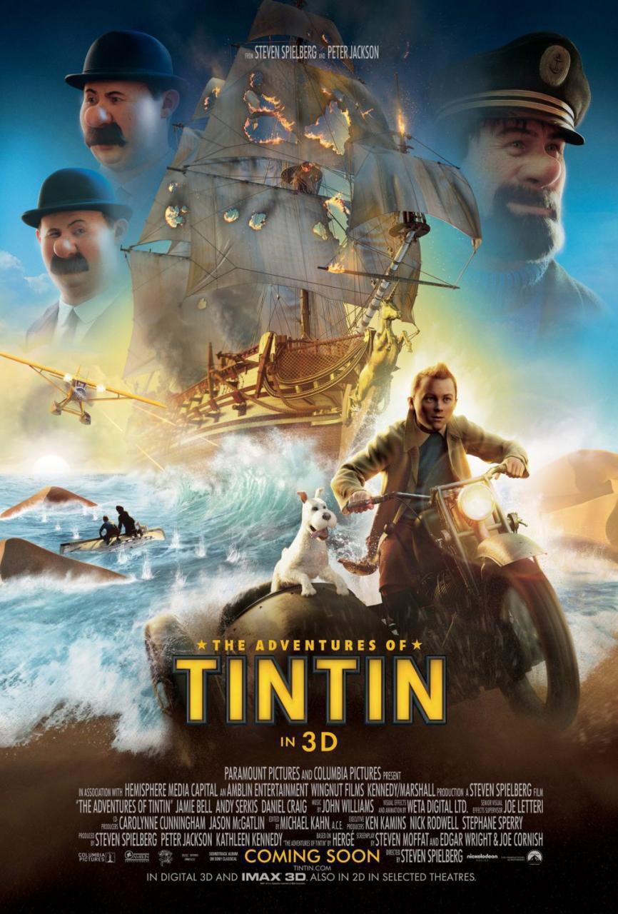 Cartel EEUU #3 de 'Las Aventuras de Tintín: El secreto del Unicornio'