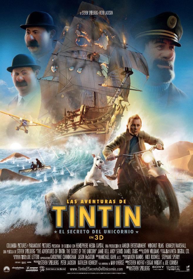 Cartel España de 'Las Aventuras de Tintín: El secreto del Unicornio'