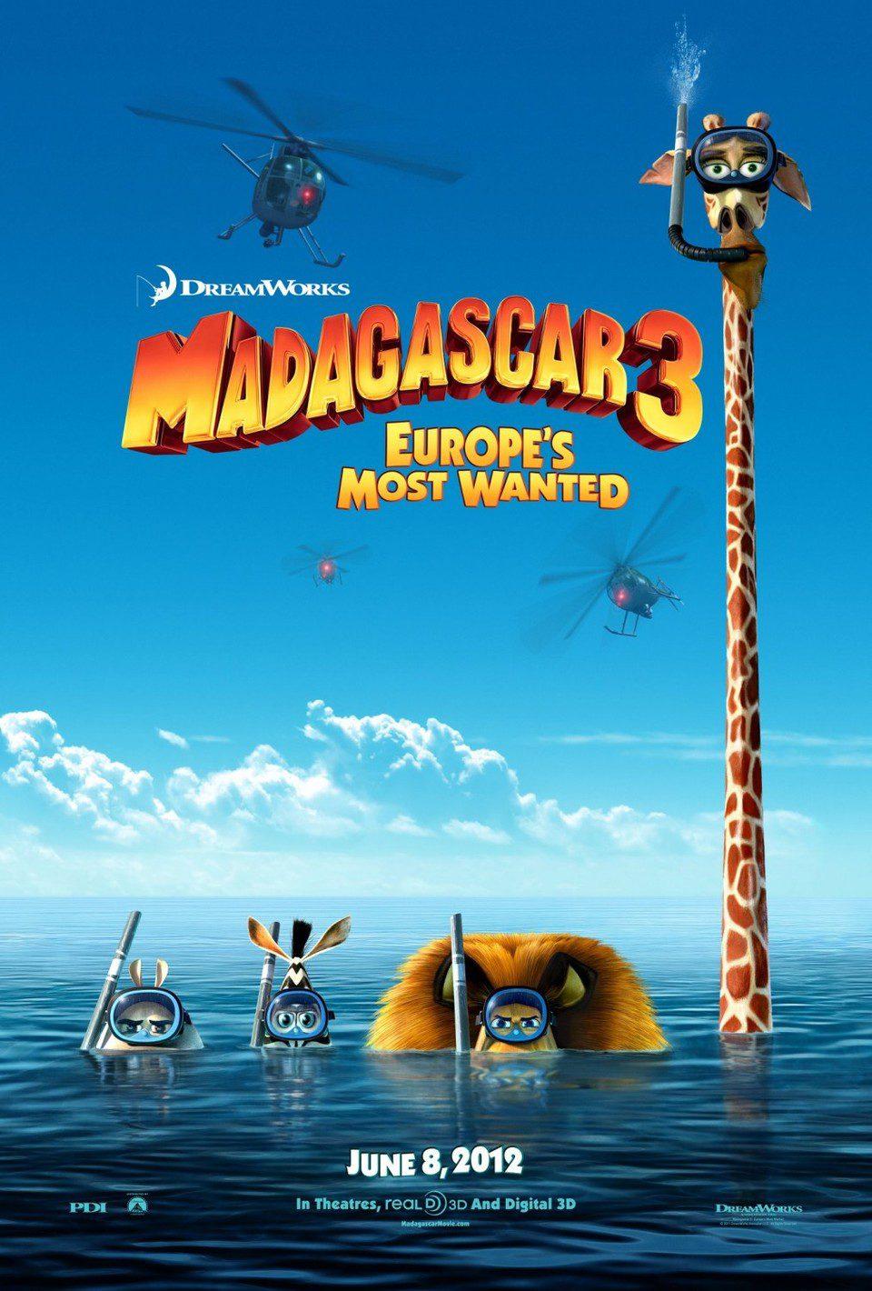 Cartel EEUU de 'Madagascar 3: De marcha por Europa'