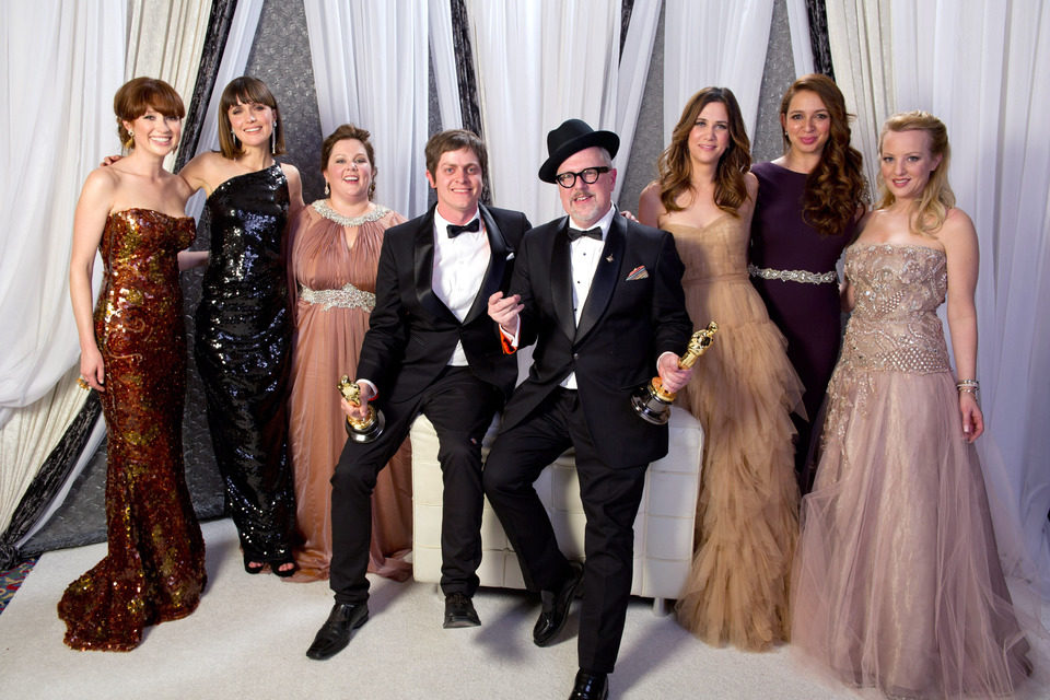Los ganadores del oscar 2012 al mejor corto animado con las actrices