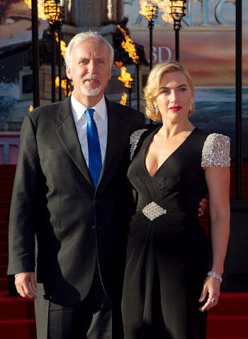 James Cameron y Kate Winslet en la premiere de Titanic 3D