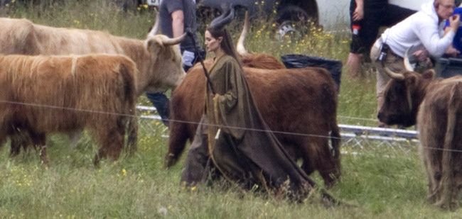 Angelina Jolie en el set de Maleficent