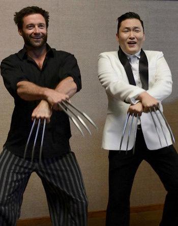 Hugh Jackman y PSY bailando Gangnam Style