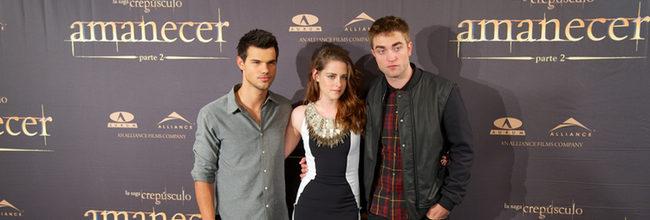 Taylor Lautner, Kristen Stewart y Robert Pattinson con 'Amanecer. Parte 2' en Madrid