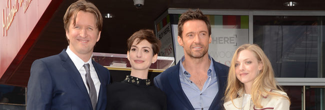 Tom Hooper, Anne Hathaway, Hugh Jackman y Amanda Seyfried
