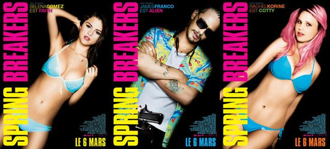 Selena Gomez, James Franco y Raquel Korine en los pósters de 'Spring Breakers'
