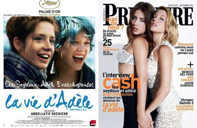 Adèle Exarchopoulos y Léa Seydoux en un póster de 'La vida de Adele' y en la revista Premiere