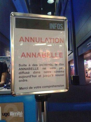 'Annabelle' cancelada en un cine de Estrasburgo (Twitter)