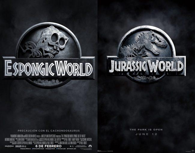Bob Esponja imita el póster de 'Jurassic World'