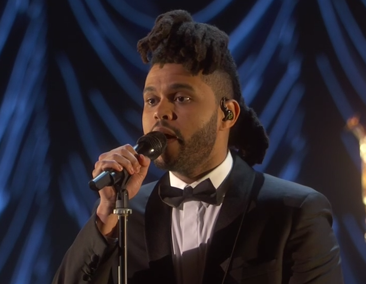 The Weeknd actuando en los Oscars 2016