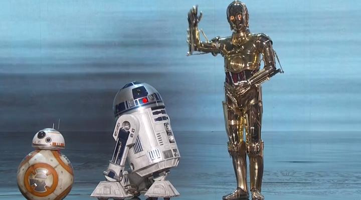 C3PO, R2D2, BB8 en los Oscars 2016