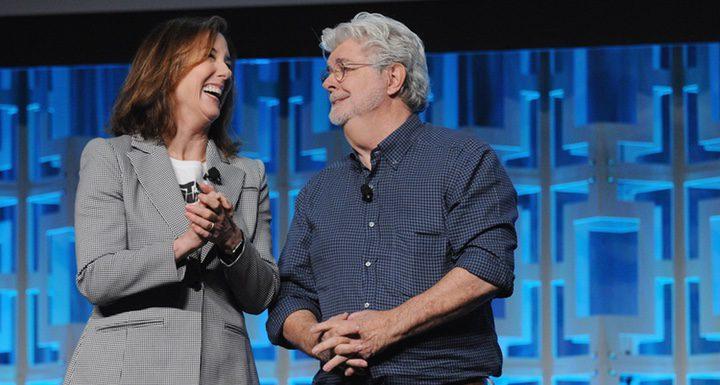 Kathleen Kennedy y George Lucas en el panel del 40 aniversario