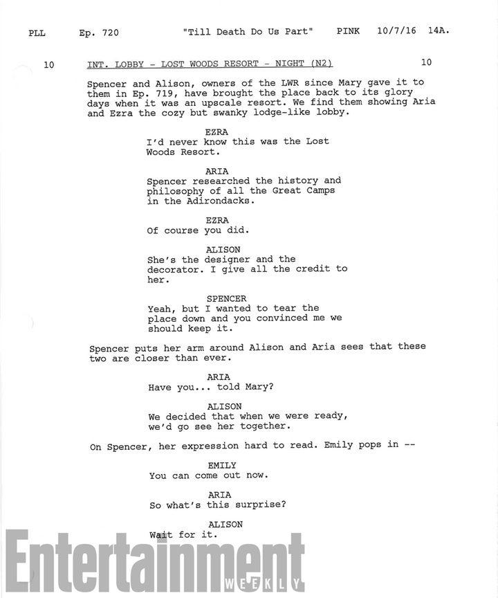 Página de guión Pequeñas Mentirosas