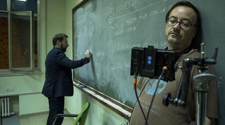 Antonio de la Torre y Manuel Martín Cuenca durante el rodaje de 'El autor'