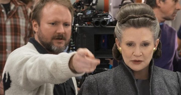 Rian Johnson y Carrie Fisher
