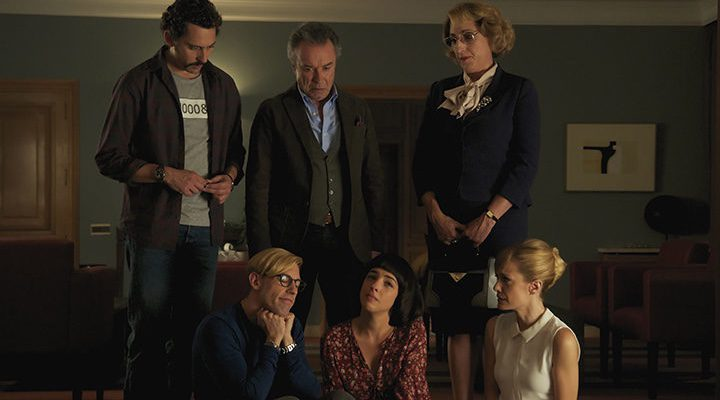 Rossy de Palma, Adrián Lastra, Nuria Herrera, Alexandra Jiménez, Paco León y Óscar Martínez en 'Toc Toc'