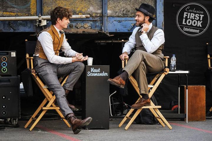 Eddie Redmayne y Jude Law en el rodaje de 'Animales fantásticos 2'