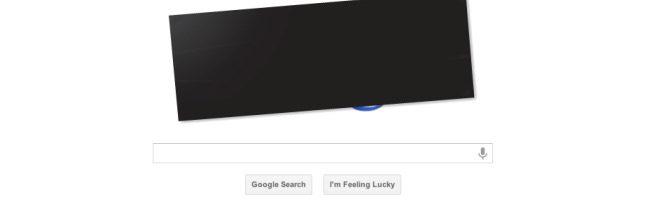 Logo de Google apagado en protesta por la ley SOPA