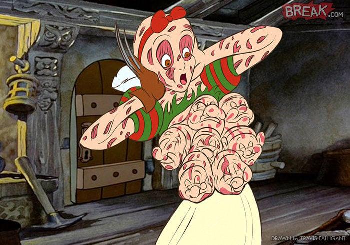 Blancanieves como Freddy Krueger