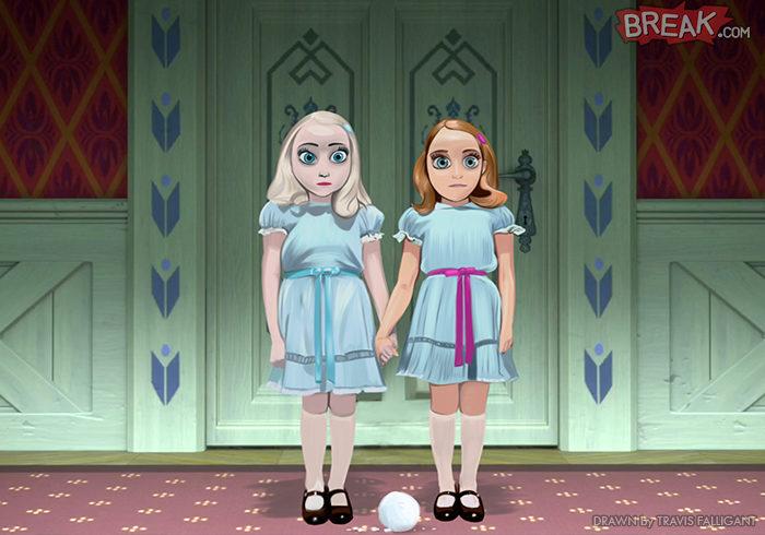Elsa y Anna como las gemelas de 'El resplandor'