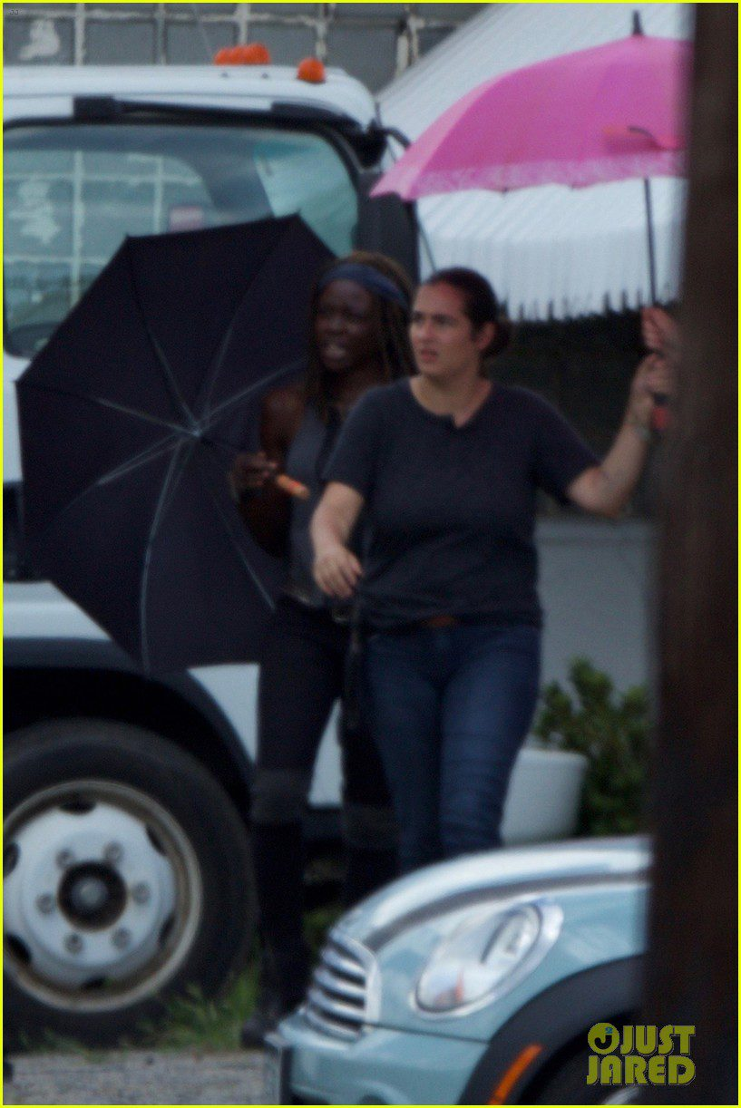 Michonne y Tara durante el rodaje de la serie
