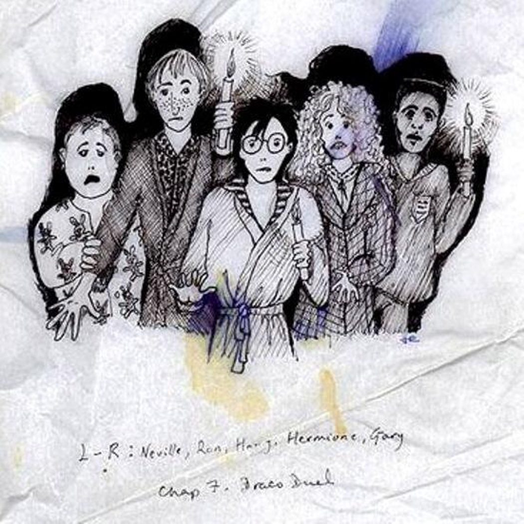 Harry, Ron, Hermione, Neville y Dean