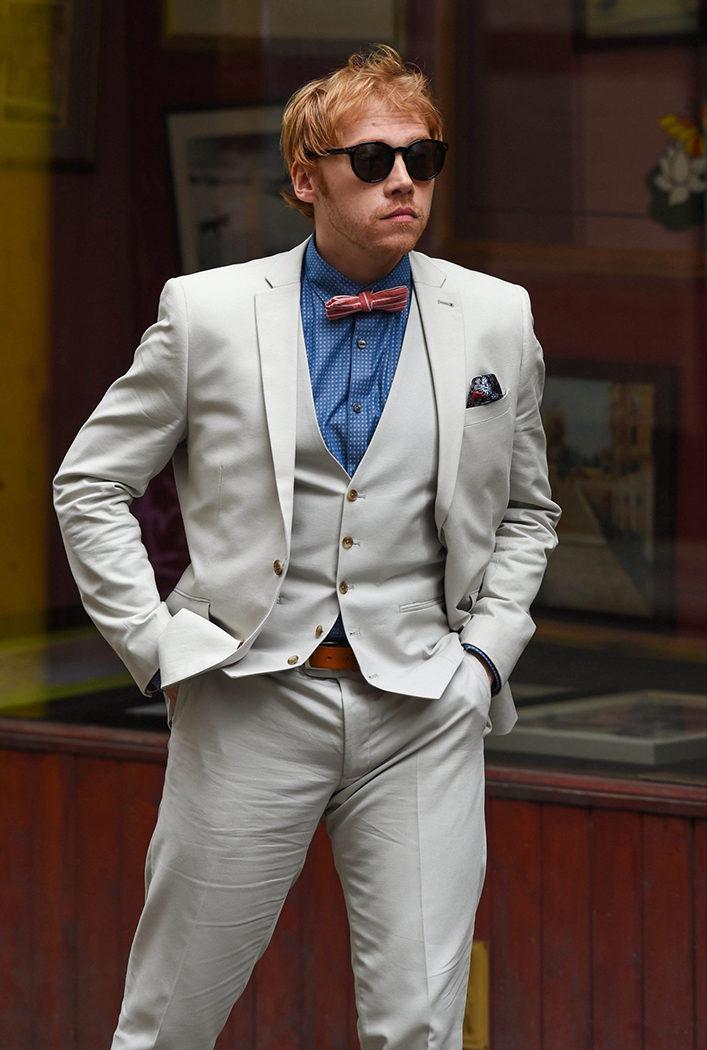 Rupert Grint en el rodaje de la serie de 'Snatch. Cerdos y diamantes'