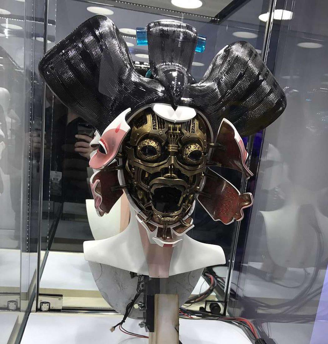 Cabeza animatrónica de geisha