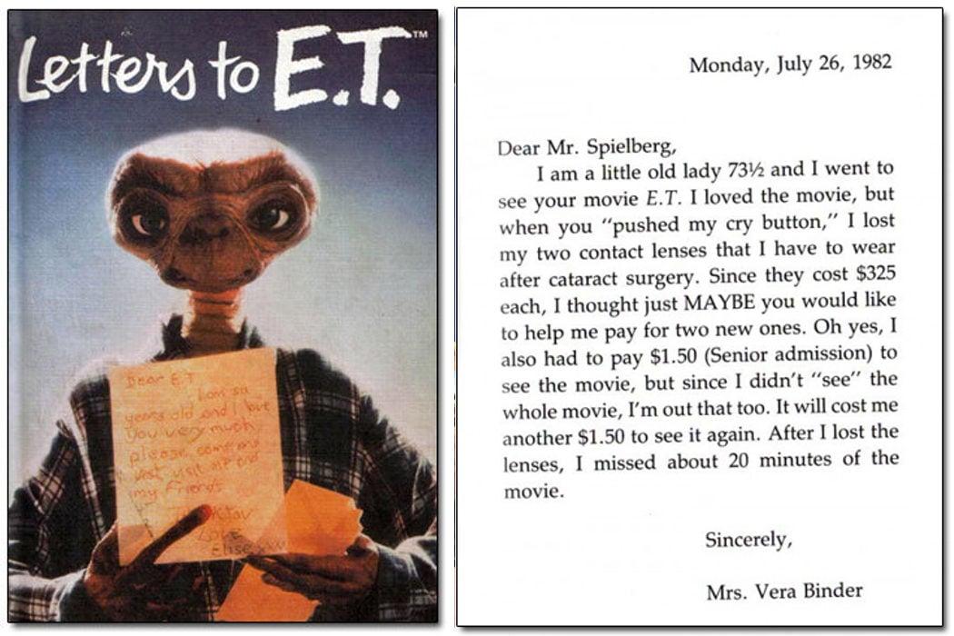 El libro de cartas a E.T. con testimonios como el drama de esta señora