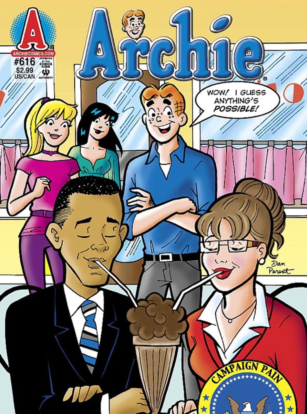 Archie de cafés con Barack Obama y Sarah Palin