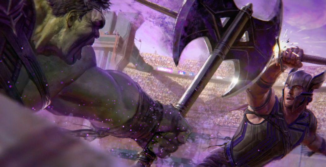 Hulk y Thor enfrentados en una lucha de gladiadores