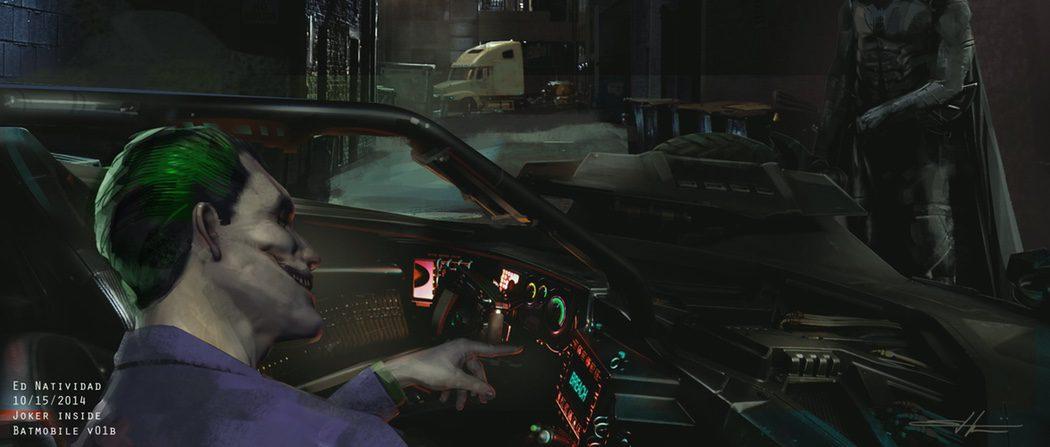 El Joker en el Batmobile