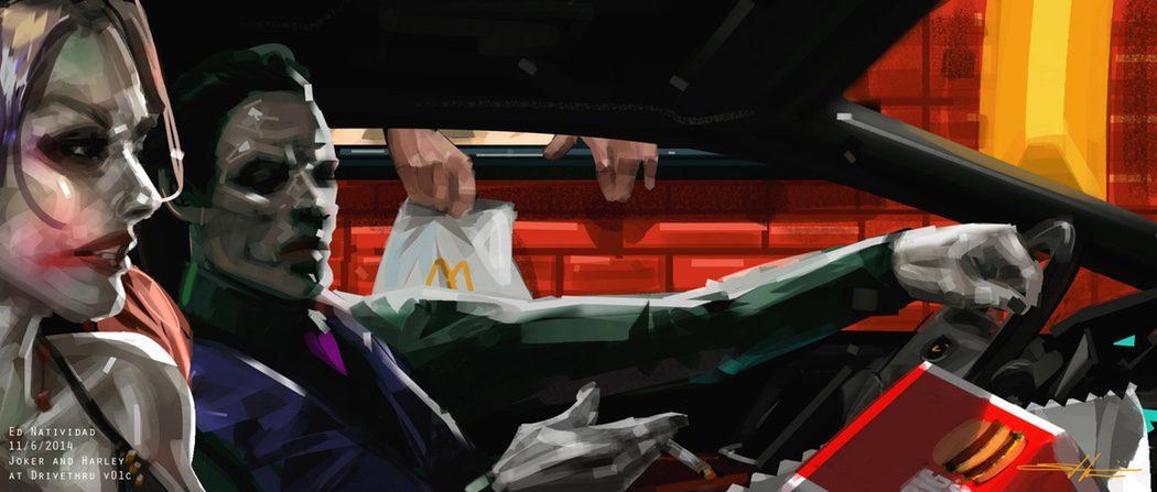 Harley Quinn y el Joker recogiendo su pedido en el McAuto