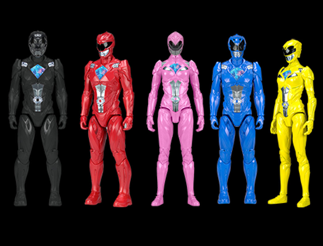 Figuras de acción de los cinco Power Rangers a 30cm de escala