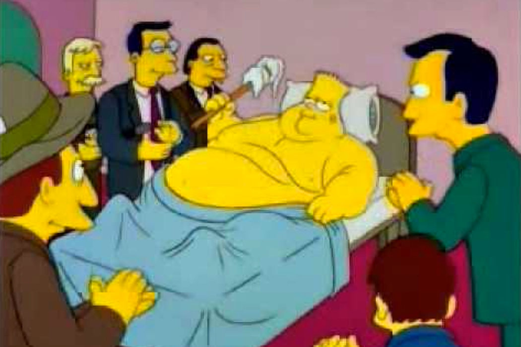 """Me lavo con un trapo atado a un palo"" (Bart gordo)"