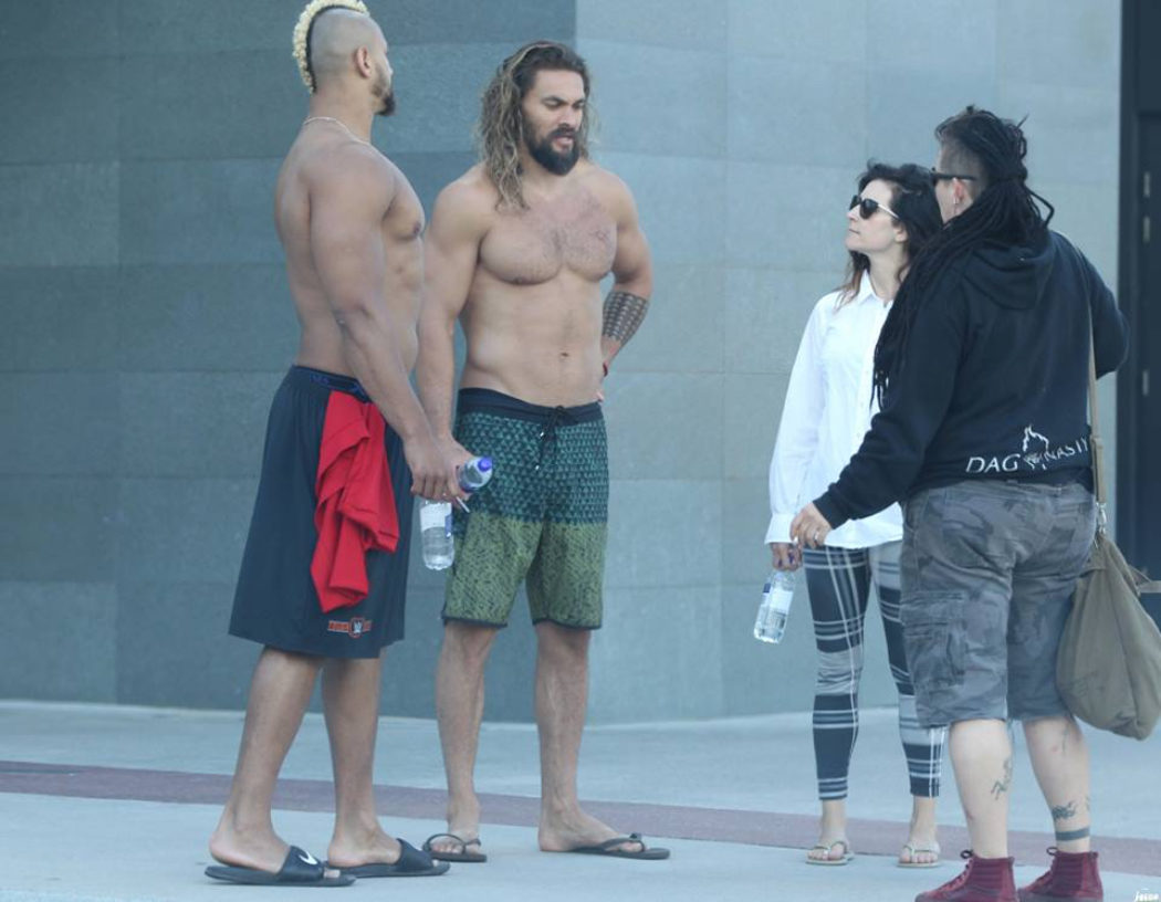 Jason Momoa en el set de 'Aquaman'