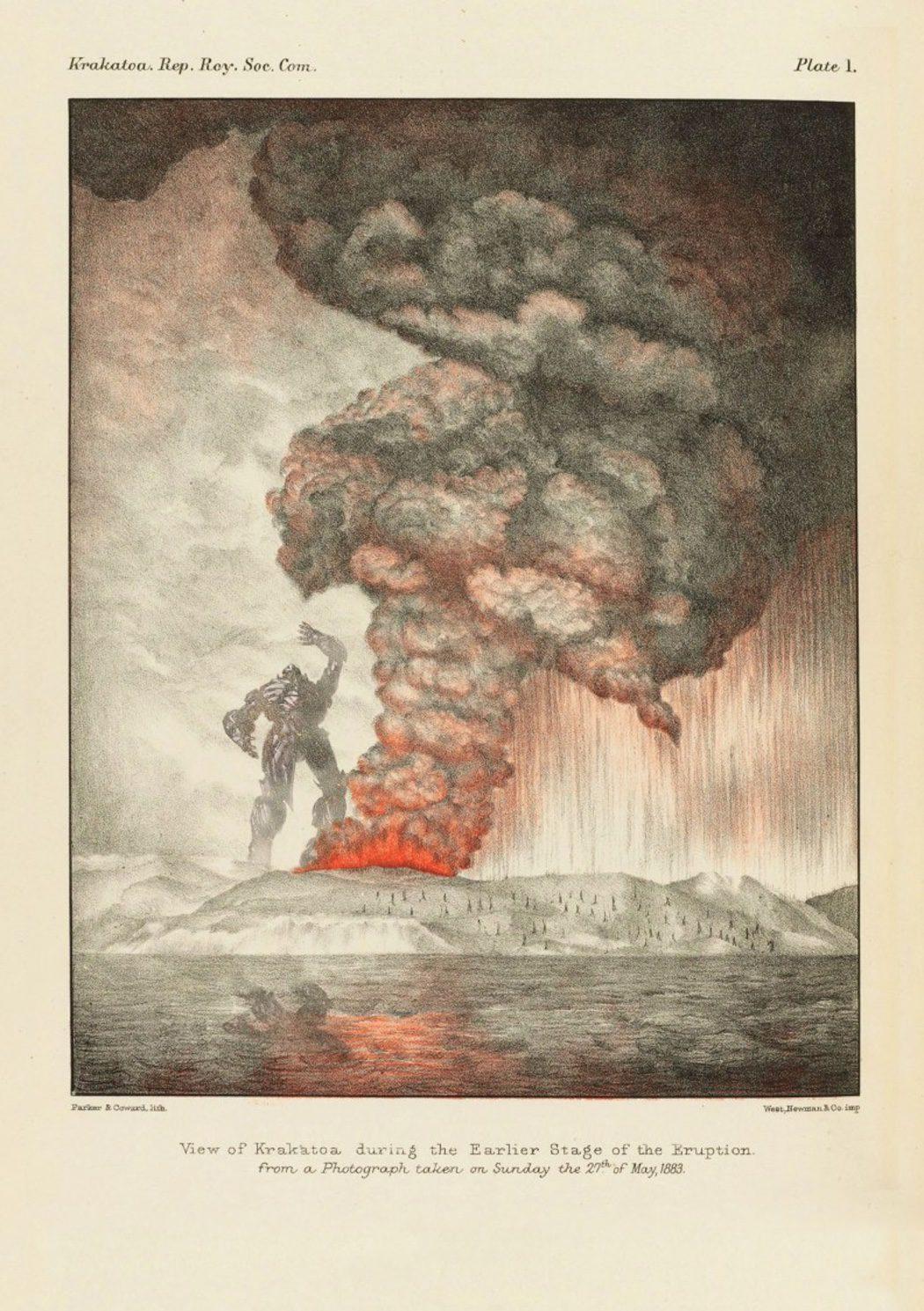 Grabado de un Transformer en el Volcán de Krakatoa, Indonesia