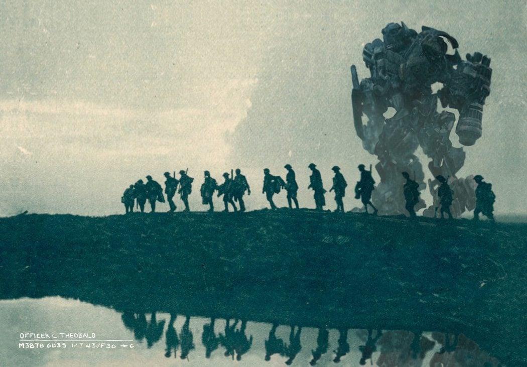 Documento fotográfico de un Transformer marchando con los soldados