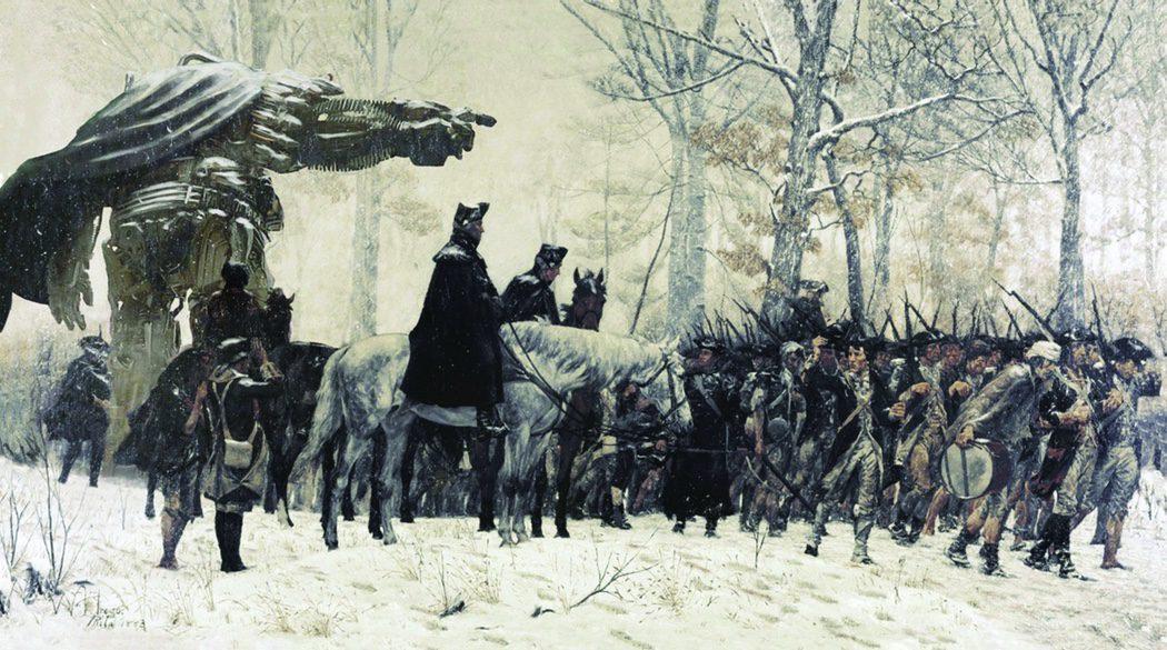 Pintura histórica de un Transformer entre los soldados