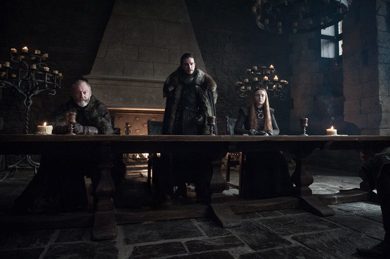Ser Davos, Jon Snow y Sansa Stark
