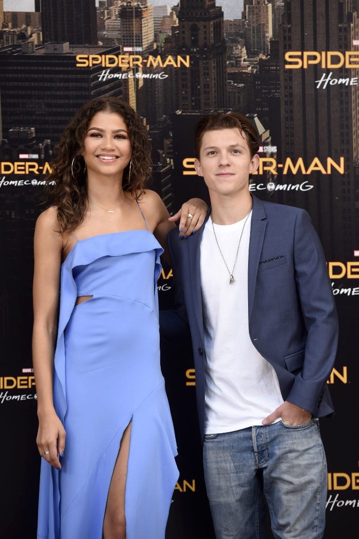 Zendaya y Tom Holland en el photocall