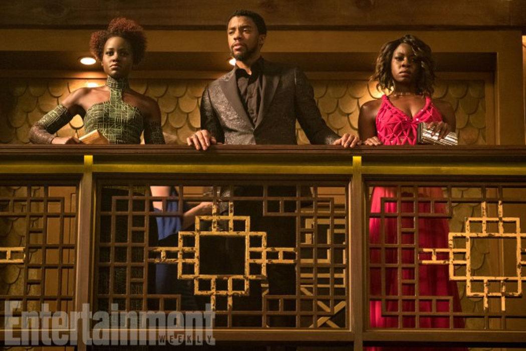 Lupita Nyong'o, Chadwick Boseman y Danai Gurira (Nakia, T'Challa y Okoye)