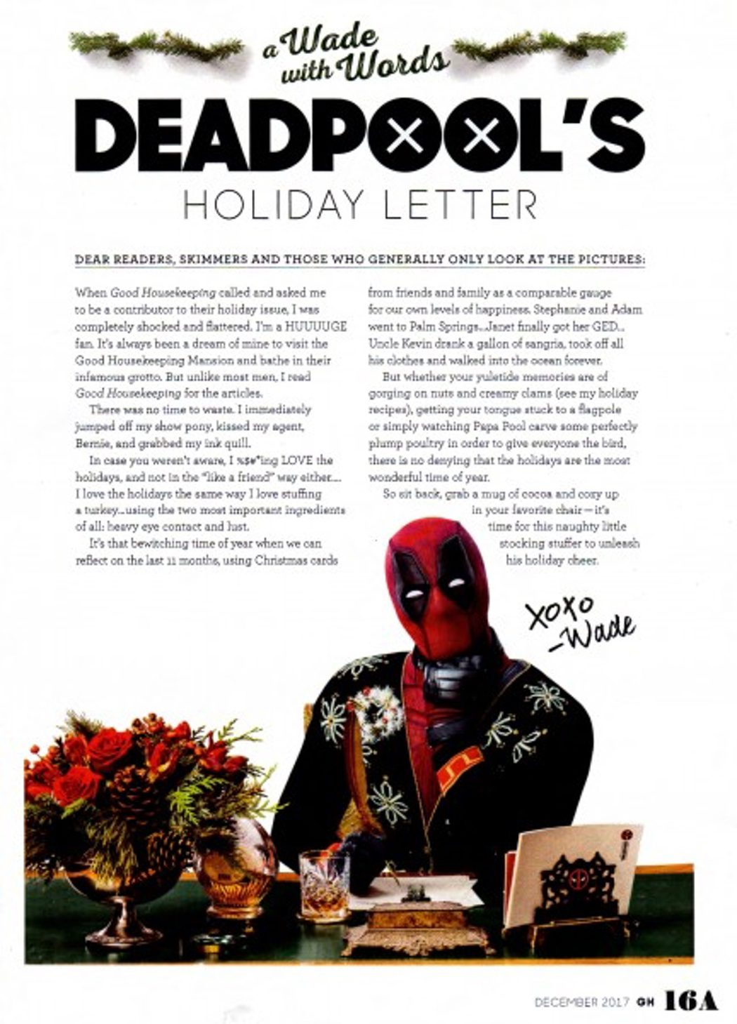 Carta de 'Deadpool' en la revista Good Housekeeping